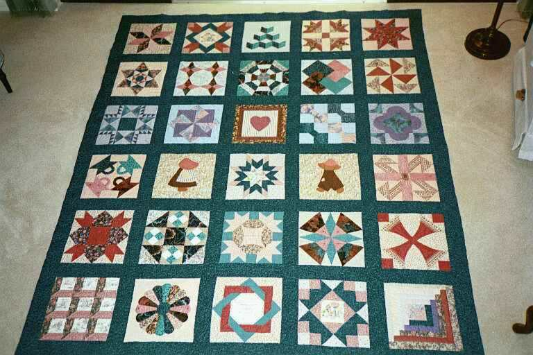 image title is Sampler Quilt - Hand pieced and quilted, 1993