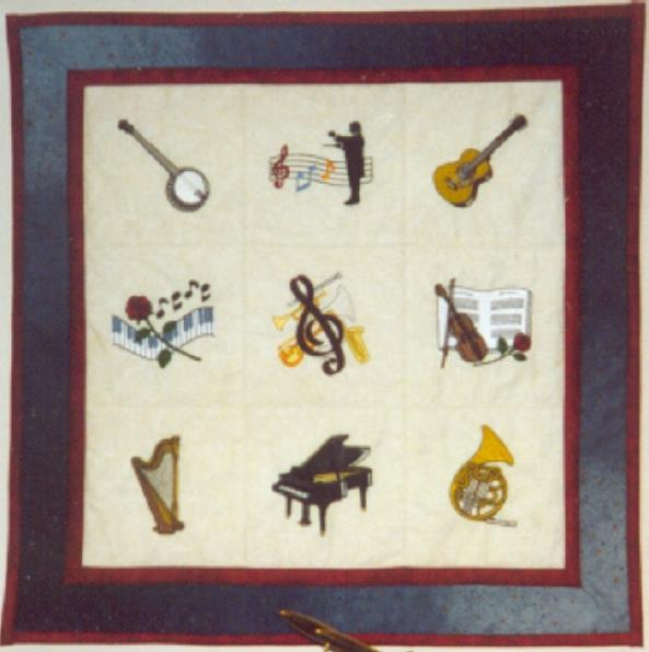 image title is Musical Theme, Machine Embroidery